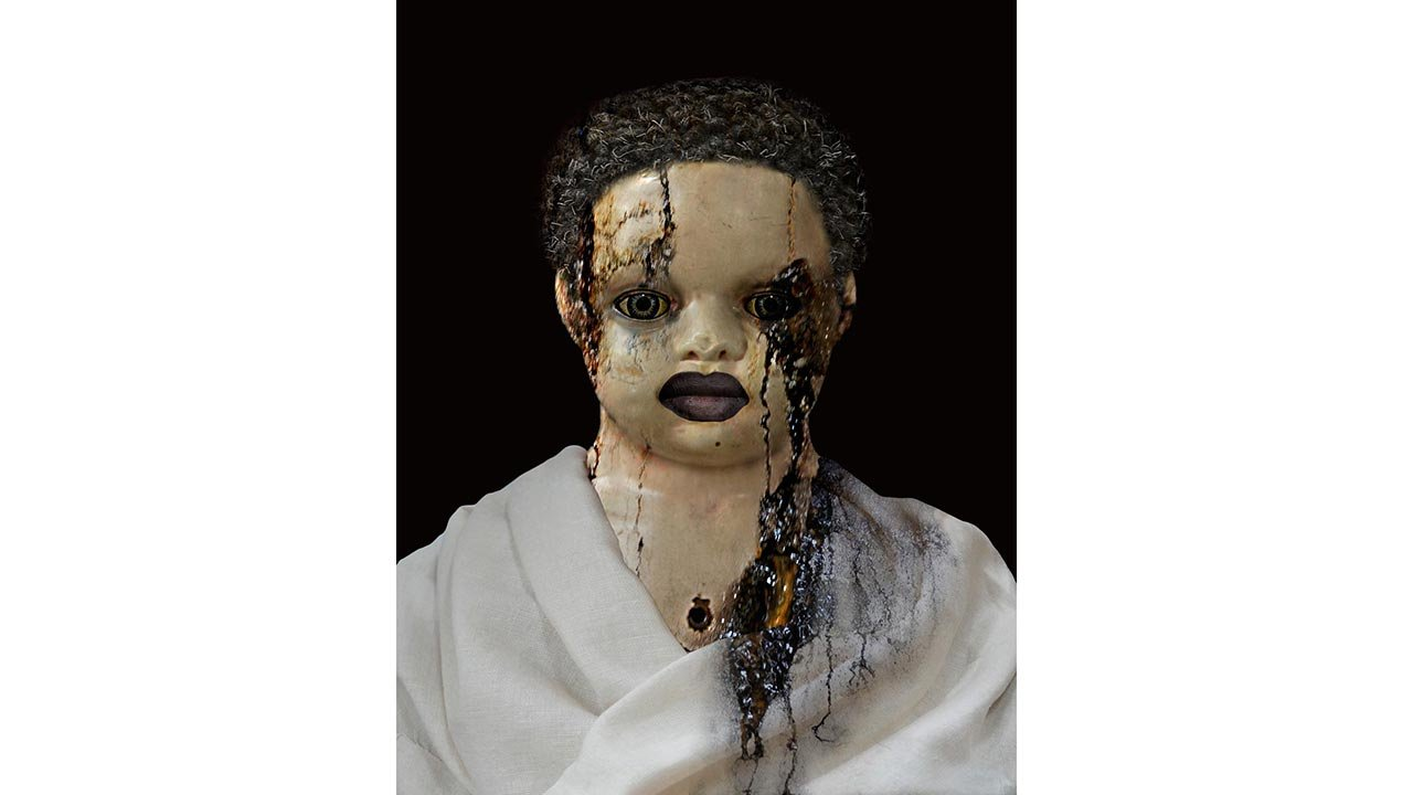 Photo montage of doll.