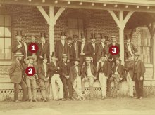 MAC's Class of 1871 at its ease, including crew members Gideon Allen (1), George Leonard (2), and Arthur Norcross (3).
