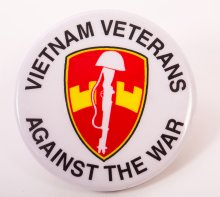 "Photo of button ""Vietnam Veterans Against the War."""