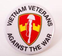 "Photo of button ""Vietnam Veterans Against the War."""