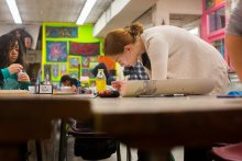 UMass students work independently and cooperatively at the Craft Center.
