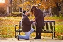 Salvatore Greco '12 proposed to Laura (Fiedler) Meredith '13 near Campus Pond in 2018.