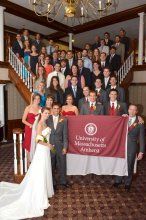 When Jon Korhonen '06 and Beth Harlow Korhonen '09, '17G married in 2012, more than 50 UMass grads attended their wedding. A group of former UMass Minuteman Marching Band members played the Fight Song as they entered the reception.