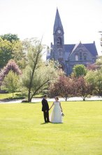 Emily Kenniston Maloney '06 and Jeffrey Kenniston '06 had a UMass-themed wedding and took their spring wedding photos outside Old Chapel.