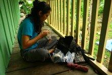 UMass Amherst PhD student Carolina Sáenz-Bolaños preparing for a hike