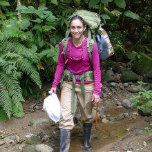 UMass Amherst PhD student Carolina Sáenz-Bolaños bushwacking in Costa Rica