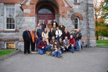 Marching band alums revisit the chapel shortly before its restoration.