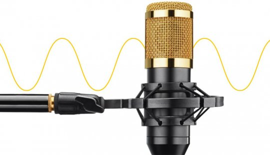 Microphone with stand and cord.
