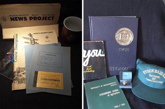 A collection of mementos including papers and other items