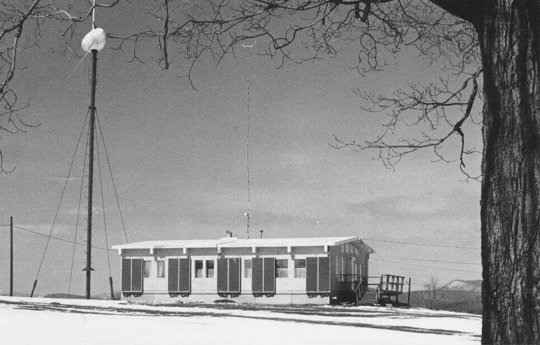 Archival photo shows the WF-1 at UMass, a historically significant wind turbine of its era.