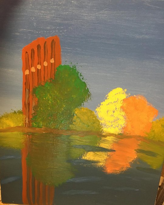 Painting of the UMass library and pond