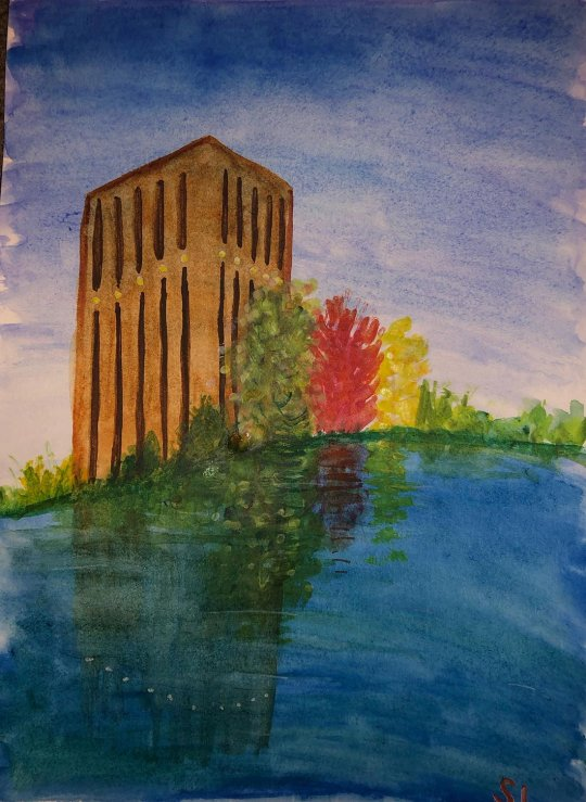 Watercolor painting of the UMass library and pond