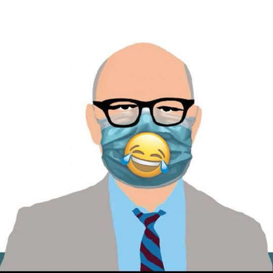 Graphic of man wearing mask and a smiley face over it.