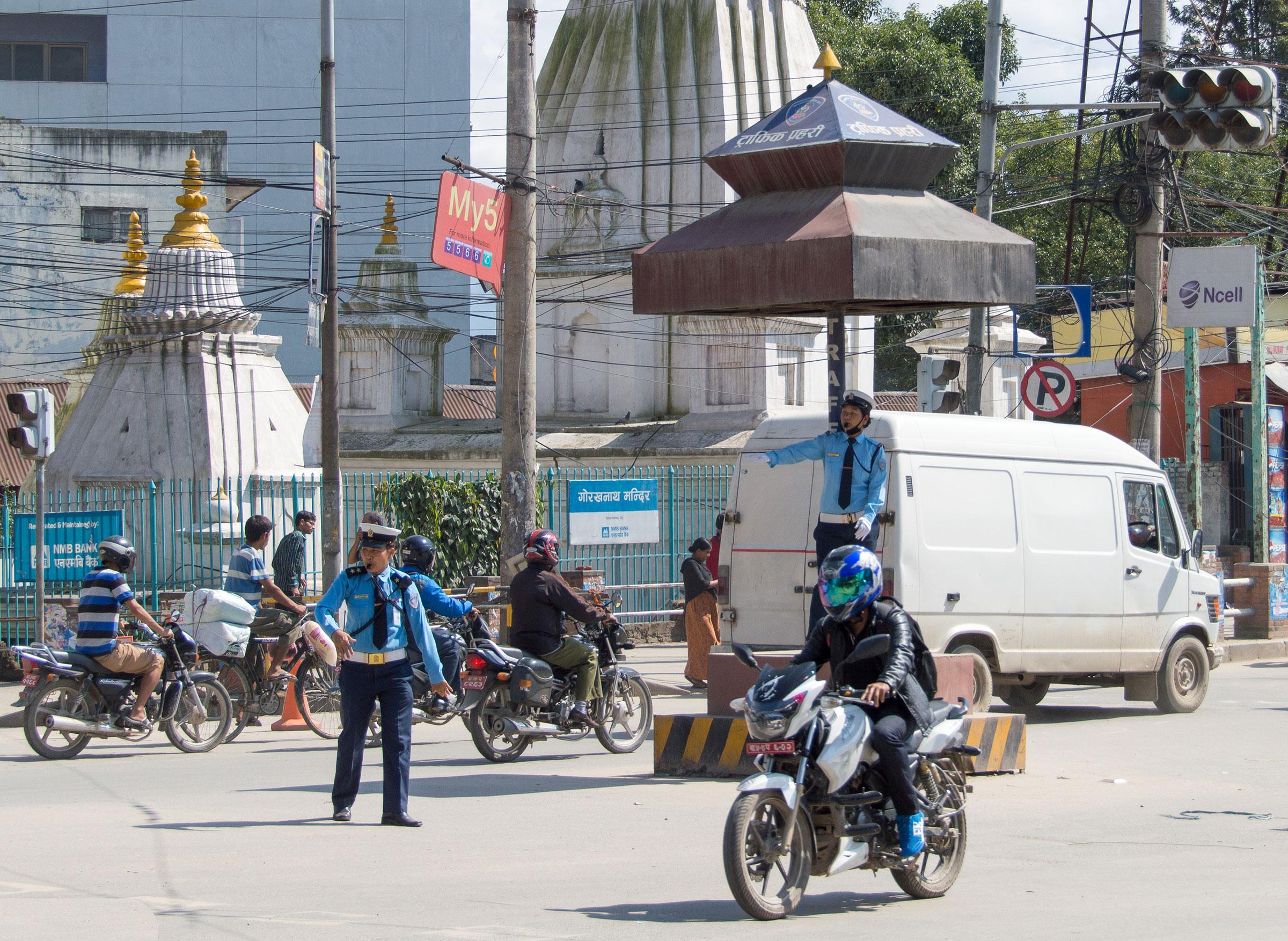 Traffic controllers in Kathmandu, Nepal
