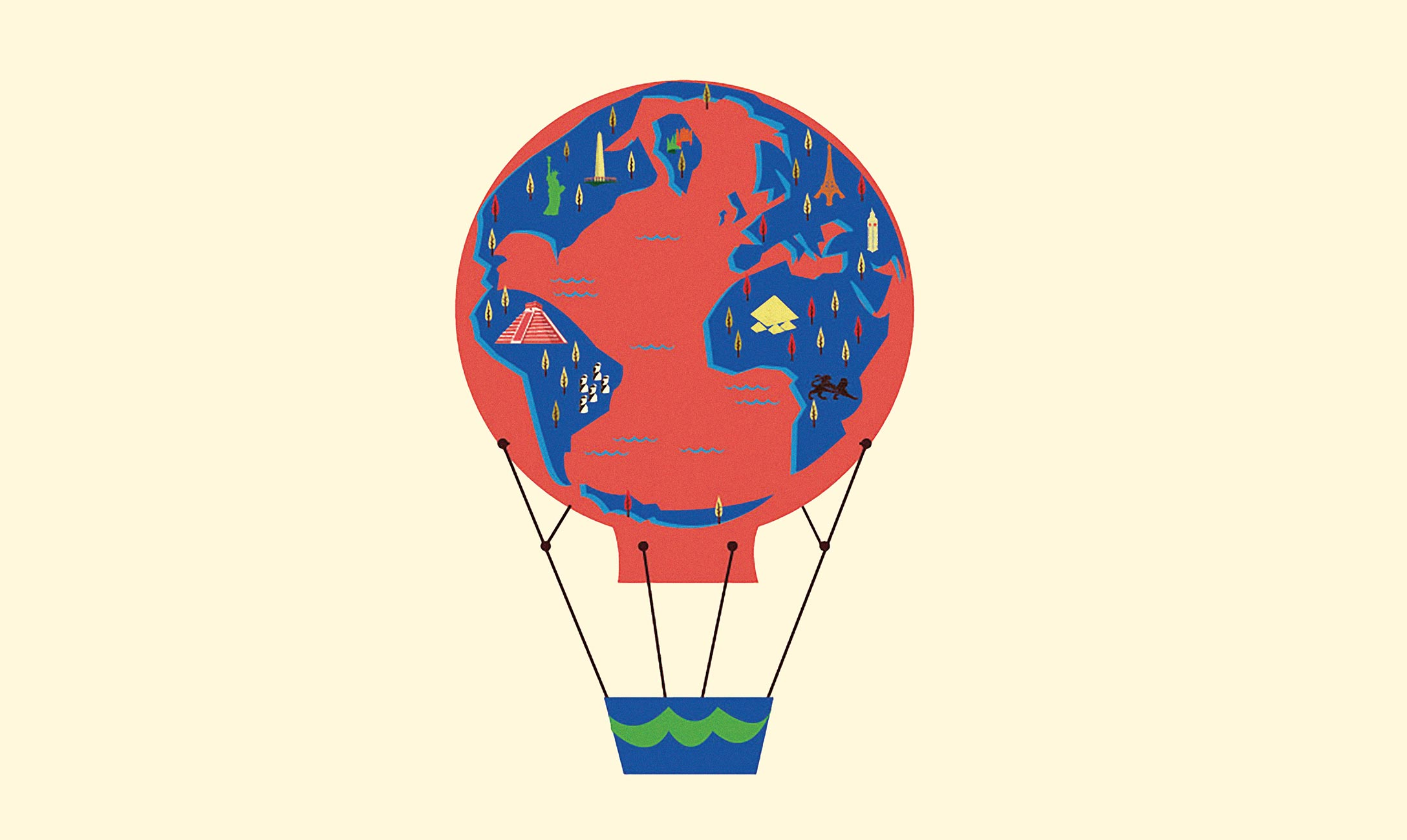 Illustration of hot air balloon decorated like a globe