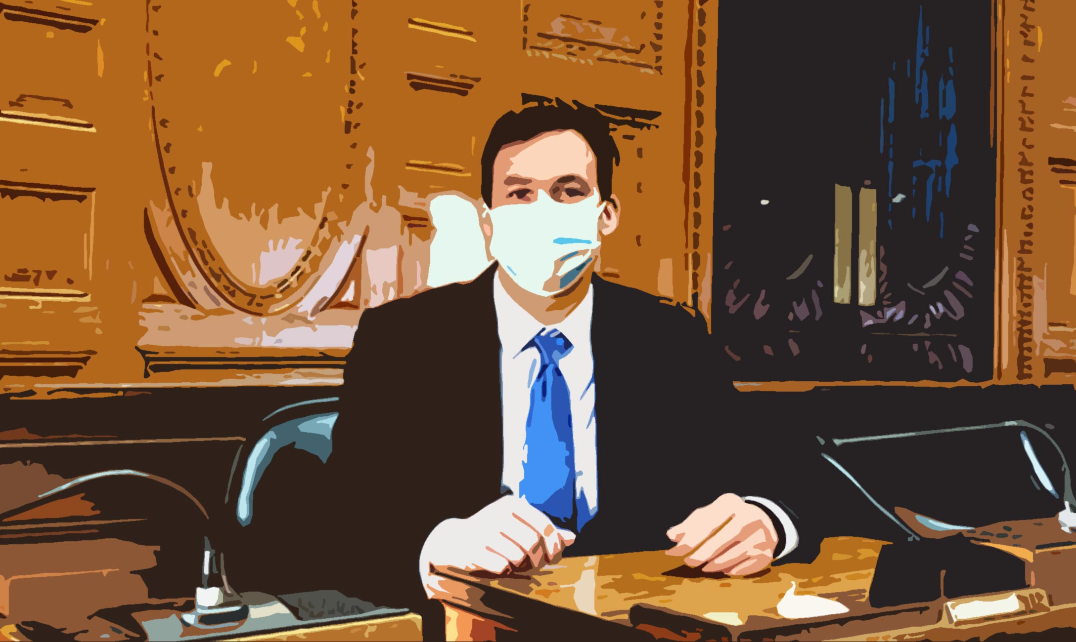 Graphic of Massachusetts State Representative Dan Sena seated in a government building behind a desk.
