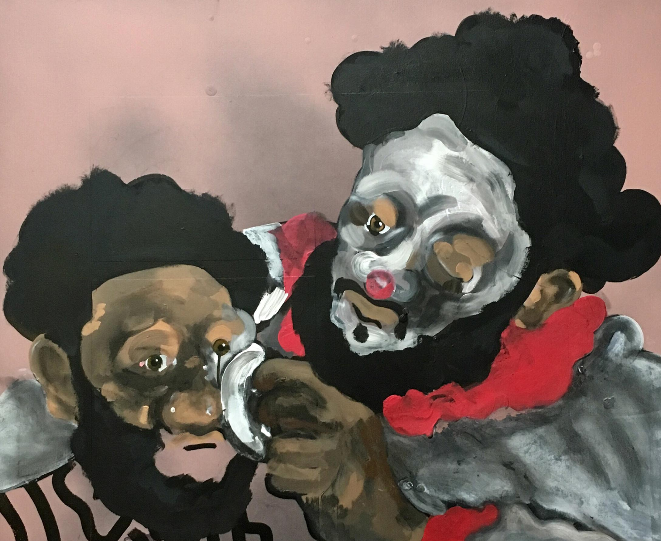 Painting of clowns wiping off or putting on white makeup over brown skin.