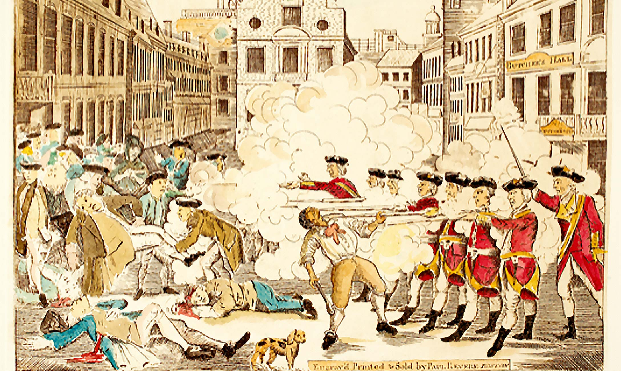 Color print of Tomolillo's revised Revere etching of the Boston Massacre.