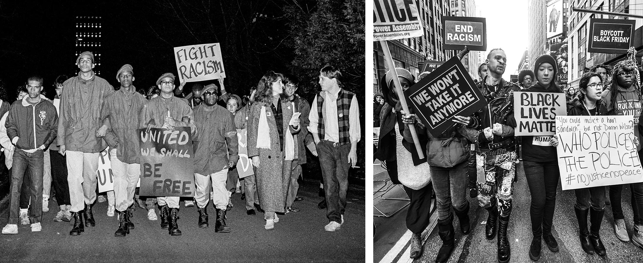 UMass students march for racial justice in 1987 (left). A crowd of protesters on a New York City street hold signs reading We Won't Take it Anymore, Black Lives Matter, and other slogans (right).