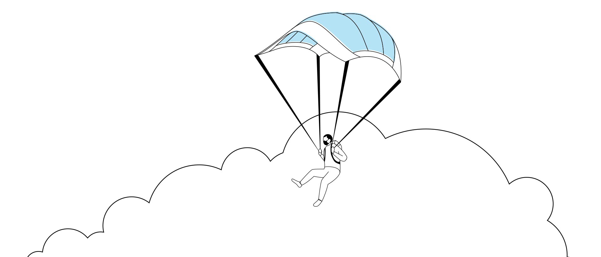 Illustration of a student using a medical mask as a parachute