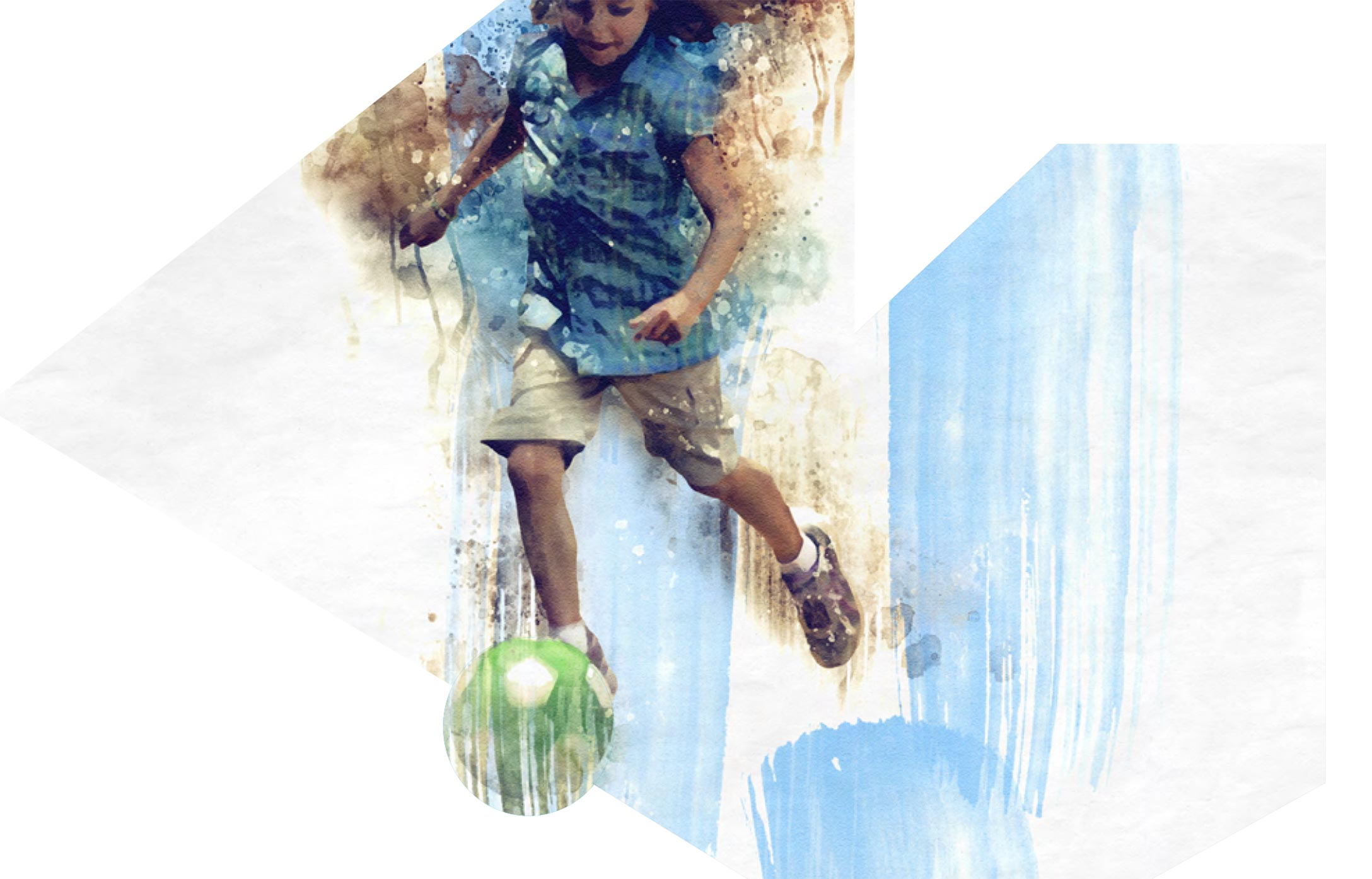 Watercolor art of girl playing soccer.