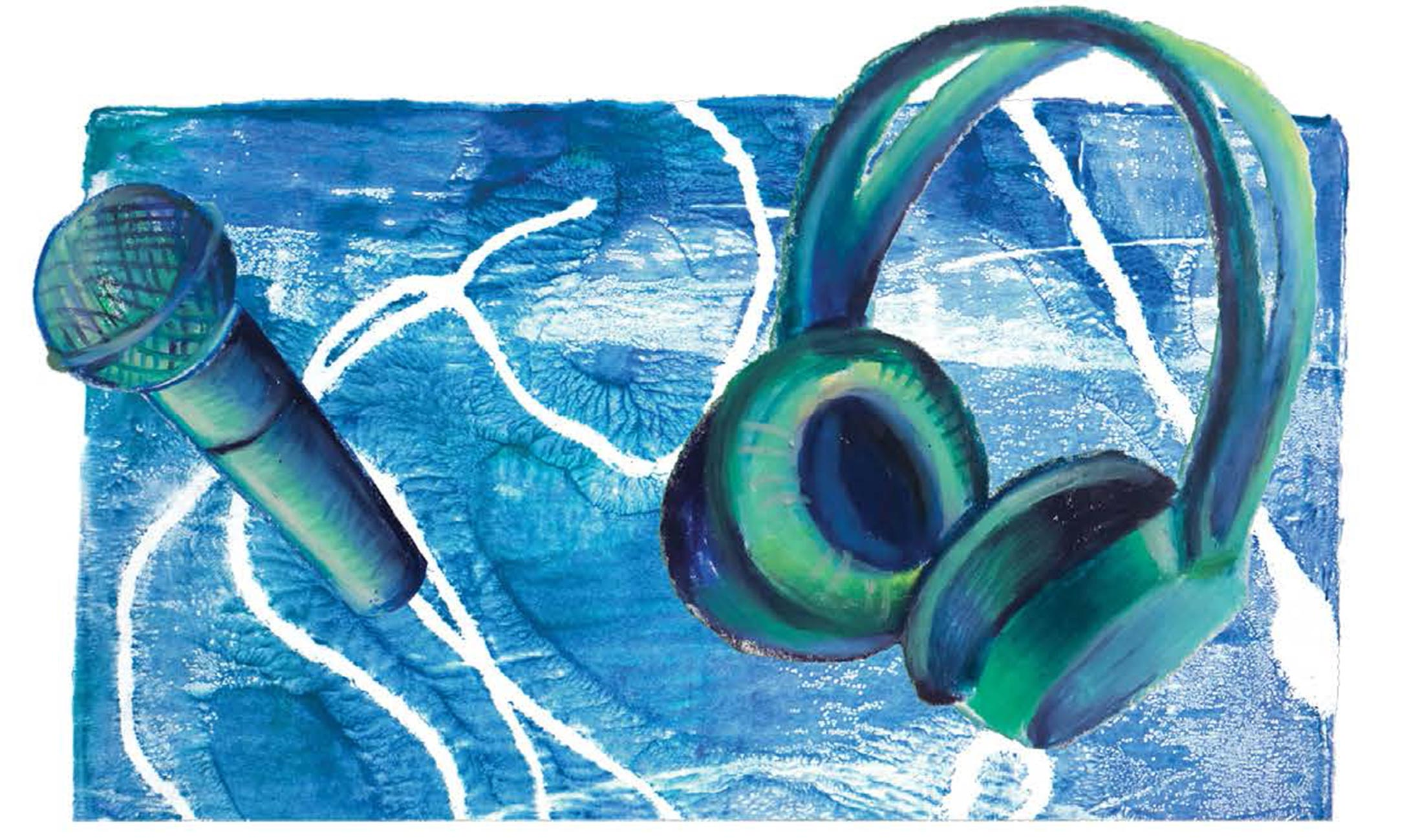 Painting of blue and green microphone and headphones.