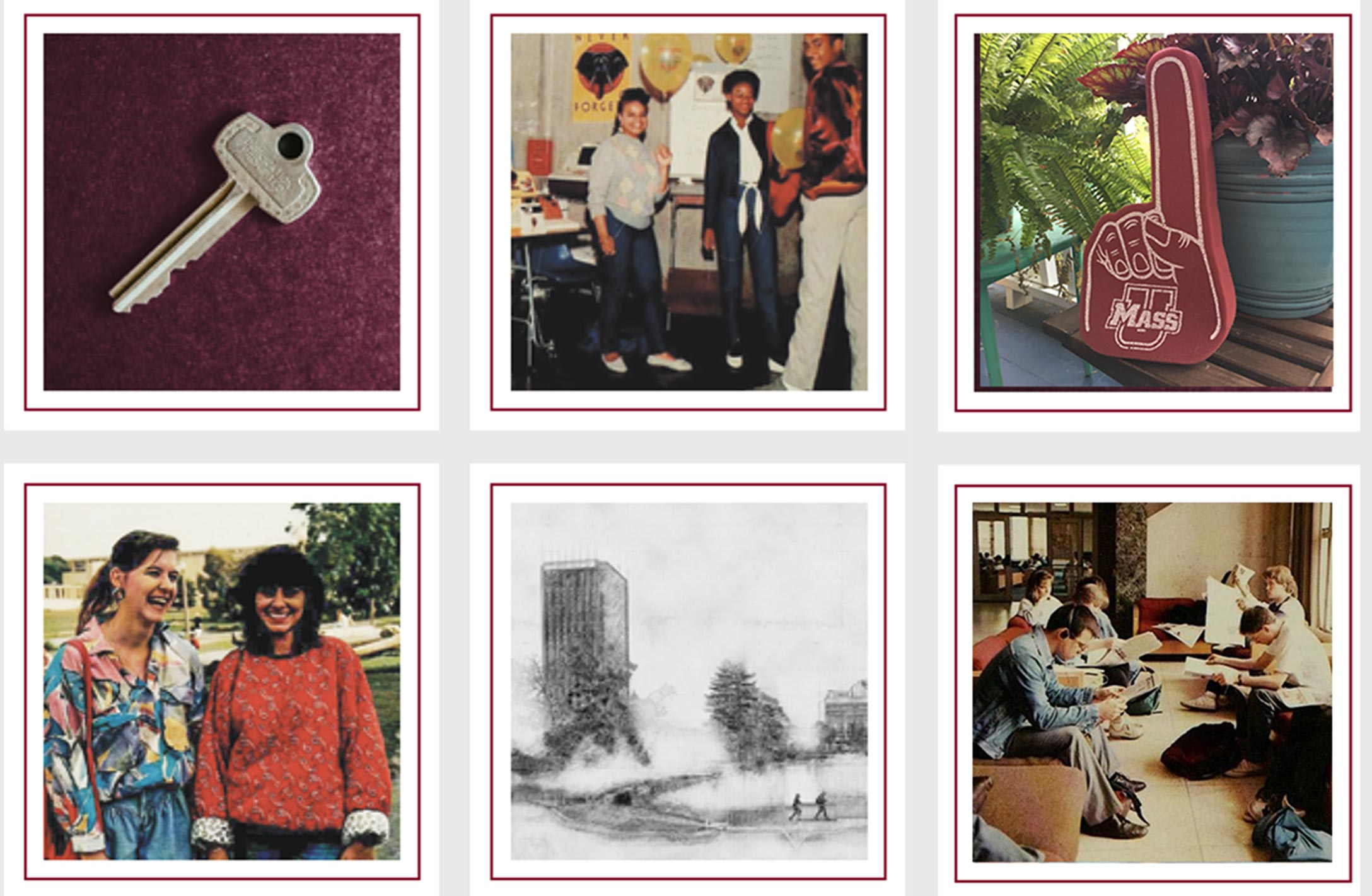 A grid of images showing examples of memorabilia including a key, old photographs, a sketch of campus buildings, and a foam finger.