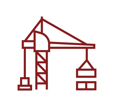 Graphic outline of a construction crane