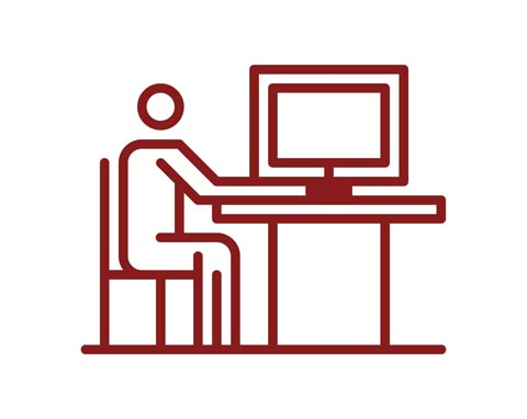 Graphic outline of student working at computer desk