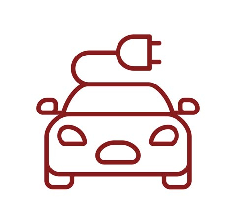 Graphic outline of electric car with plug