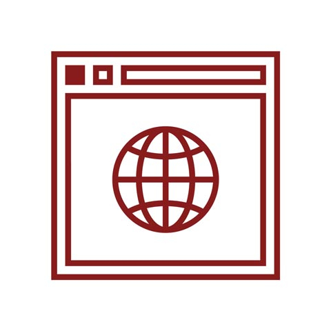 Graphic outline of a globe on a webpage