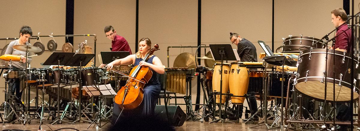 Percussion Ensemble with Shannon Merciel, cello, Dec. 2019