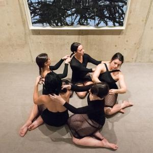 UMass Dancers in front of Leonardo Drew artwork