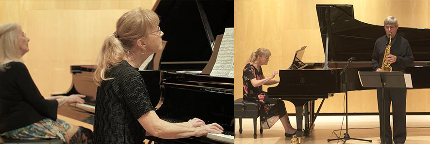 Ms. Shank performing with Estela Olevsky, piano, & with Lynn Klock, saxophone