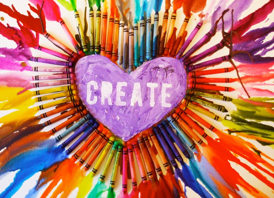 "Image of heart with word ""Create"" surrounded by art supplies"