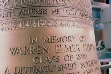 Engraved bell reads: In memor of Warren Elmer Hinds Class of 1899