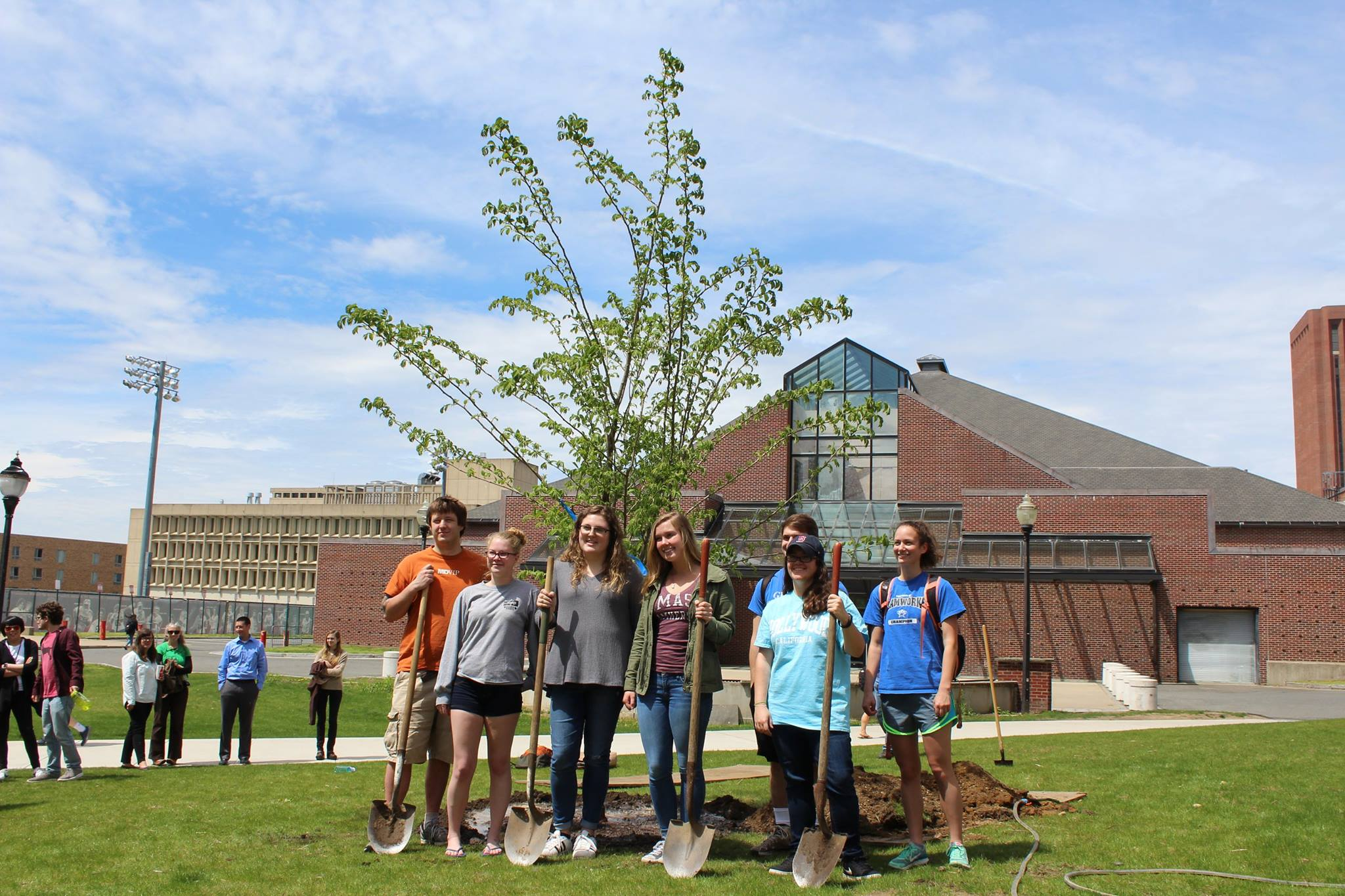Students Planting 2017 UMA Japanese Elm Class Tree