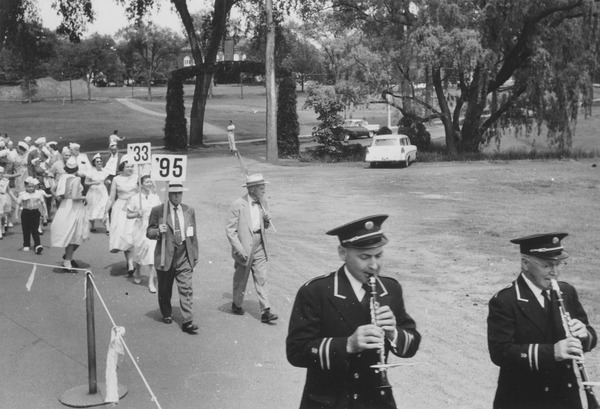 Reunion parade with Class of 1933, ca. June 1956. University Photograph Collection (RG 130). Special Collections and University Archives, University of Massachusetts Amherst Libraries