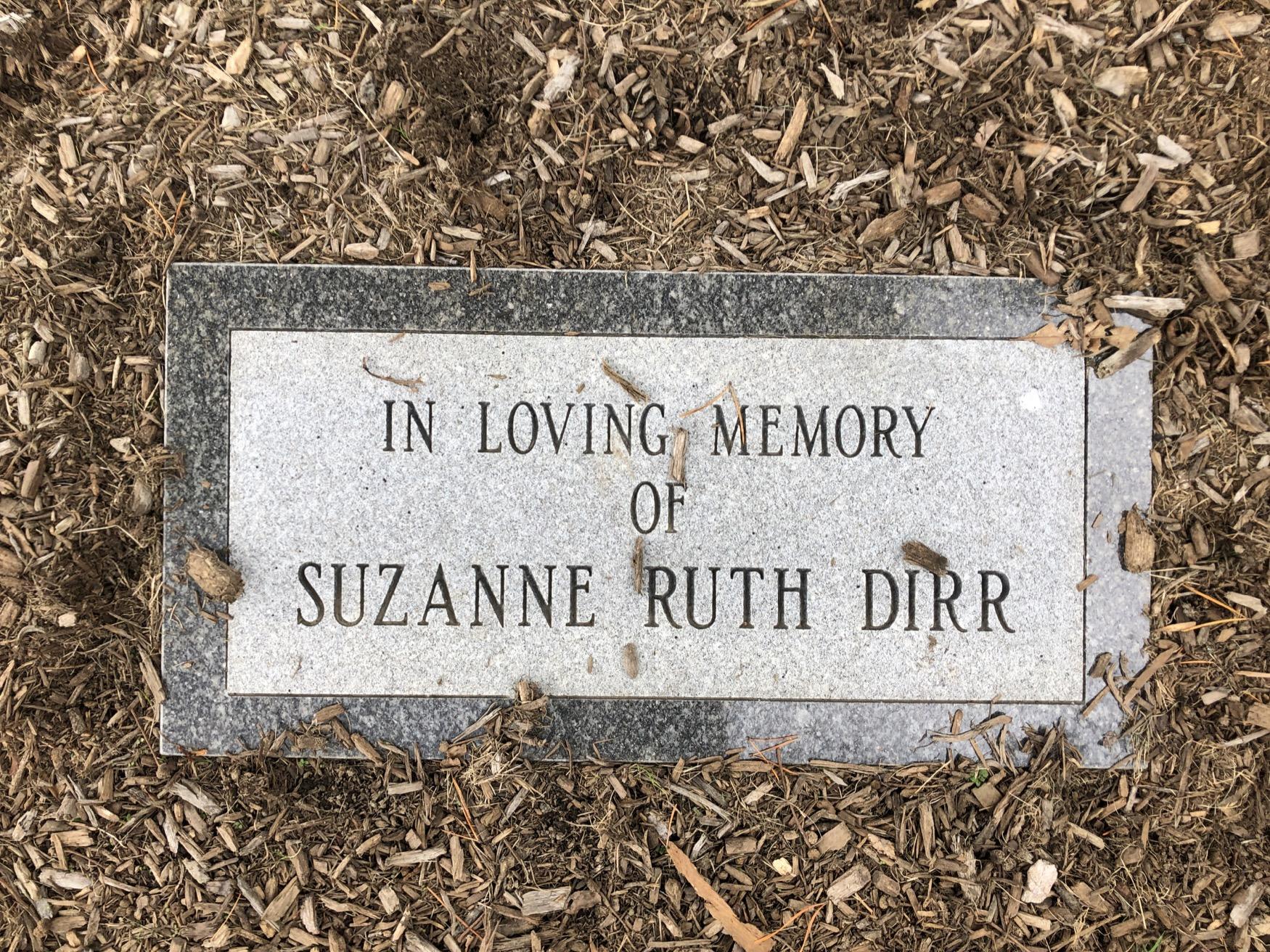 Suzanne Ruth Dirr Plaque