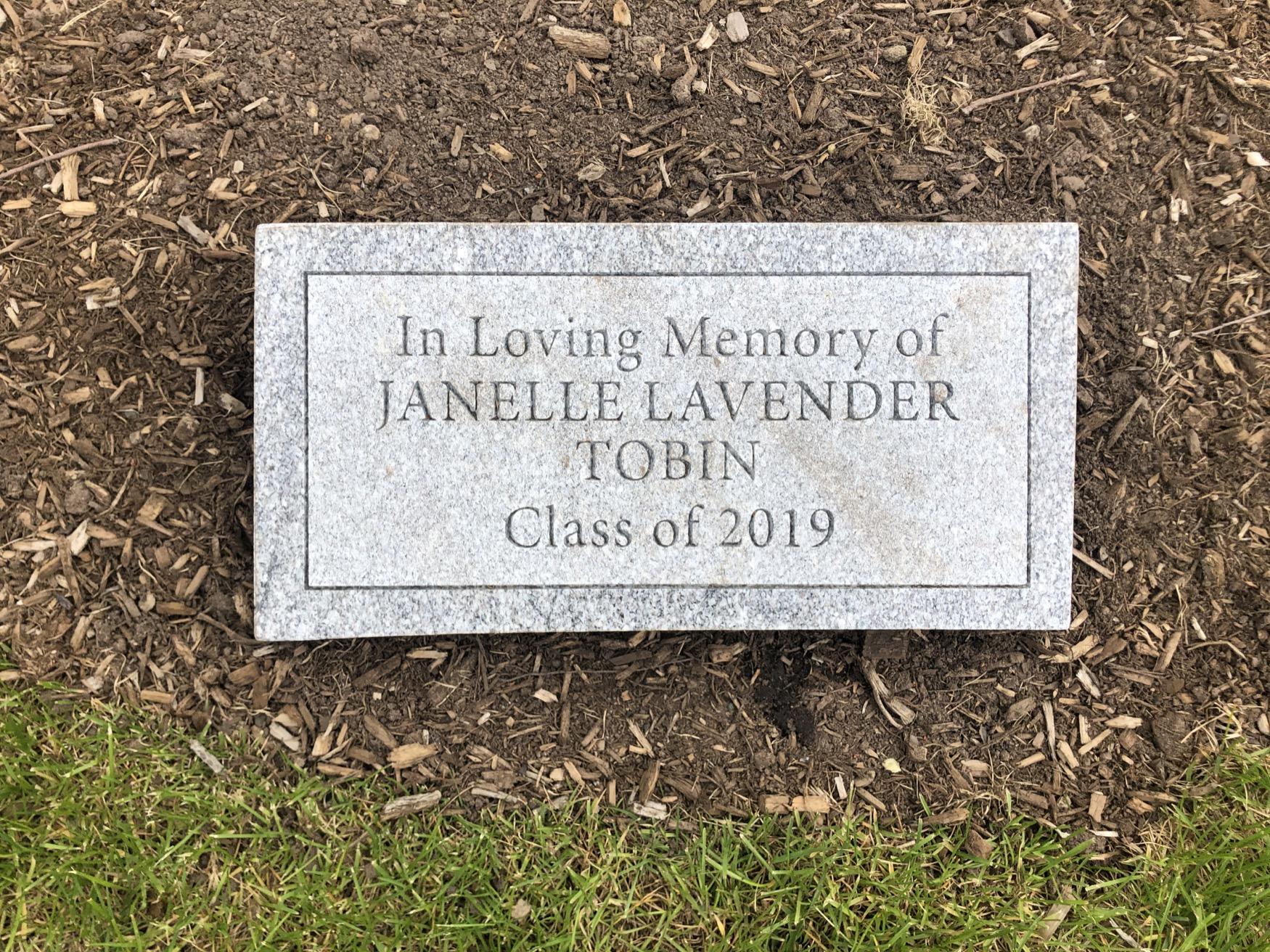 Janelle Lavender Tobin Tribute Plaque