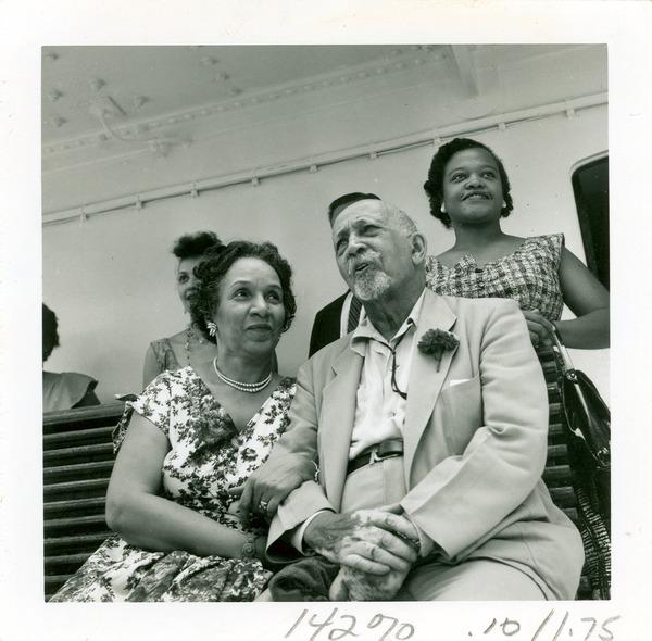 W. E. B. Du Bois and Shirley Graham Du Bois on board the S. S. Liberte, August 1958, August 1958