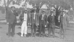 Members of the class of 1897 standing outside, 1913
