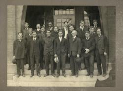 Class of 1906 students: group portrait on stairs of unidentified building, ca. 1906