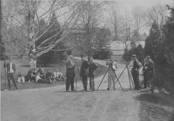 Class of 1911 surveying the landscape with tripods, ca. 1911. University Photograph Collection (RG 130). Special Collections and University Archives, University of Massachusetts Amherst Libraries