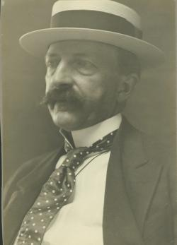 George E. Stone wearing polka dot tie and straw boater hat, ca. 1900. University Photograph Collection (RG 120_2). Special Collections and University Archives, University of Massachusetts Amherst Libraries
