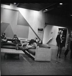 Students sitting in the basement of the UMass Amherst Campus Center, ca. November 3, 1972