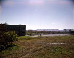 Dickinson Hall and tennis courts, looking to southwest, ca. October 1959