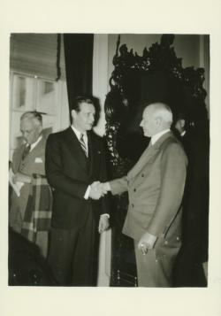 John W. Haigis Sr. with Maurice J. Tobin, 1945