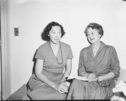Helen Curtis sitting indoors with Mrs. Isabelle C. Gonor, new Assistant Dean of Women, 1959
