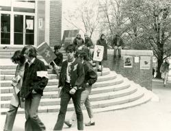 Students protesting outside Machmer Hall during the Strike of 1970, ca. May 1970